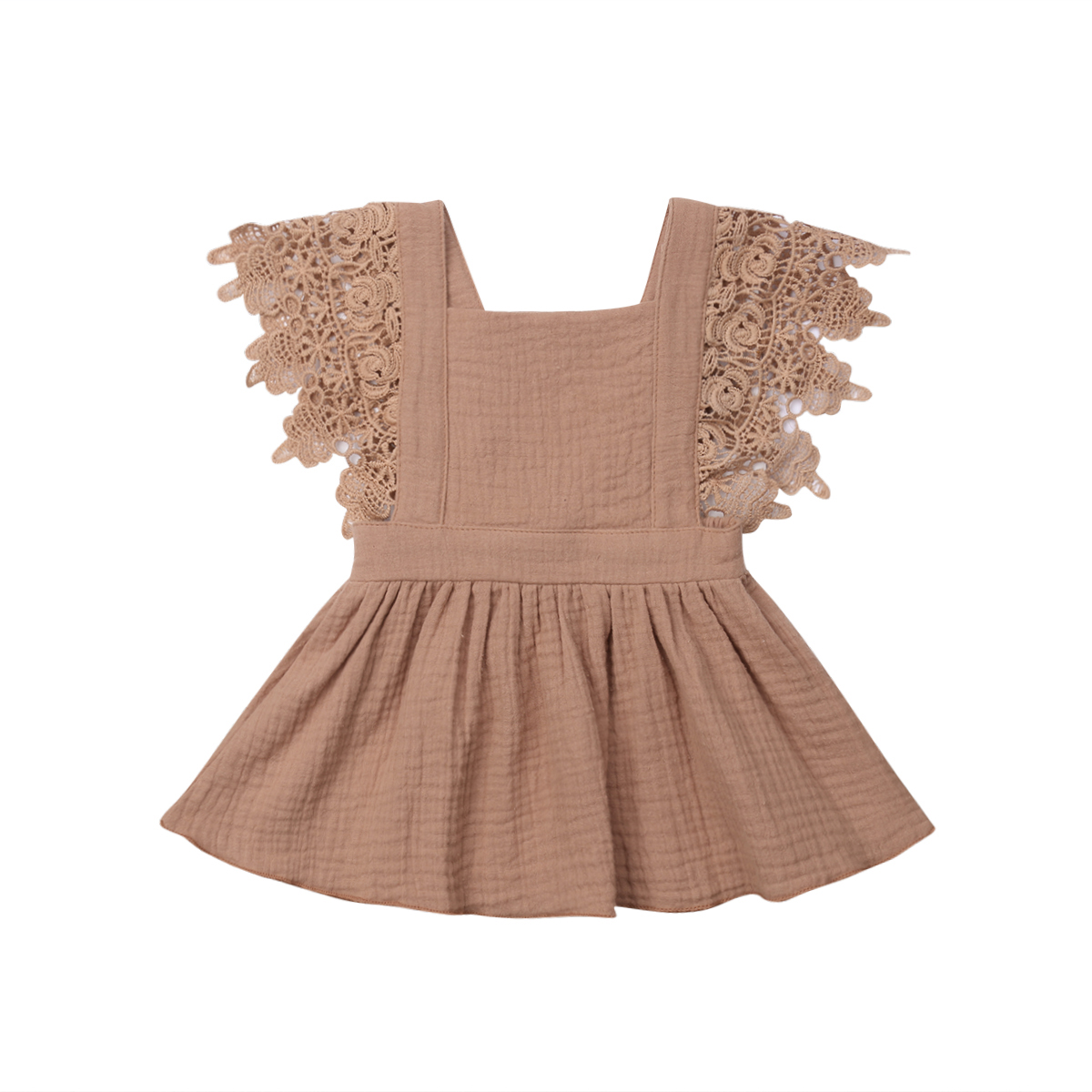 0 3 Months Toddler Baby Girl Cotton Linen Dress Lace Ruffle Tassel Sleeves Splice Backless Bandage Fashion Casual Summer Clothes in Dresses from Mother Kids