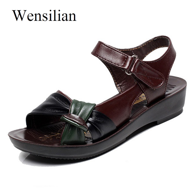 0a5847df83b Designer Low Heels Leather Sandals Women Ladies Shoes Platform Femme Flat  Summer Moccasins Hook Loop Sandalias