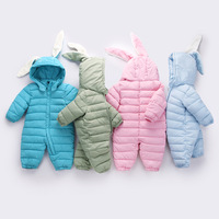 2017 Winter Warm Baby Girl Boy Snowsuit Thick Down Cotton Baby Rompers Hoodies Newborn Overalls Clothes