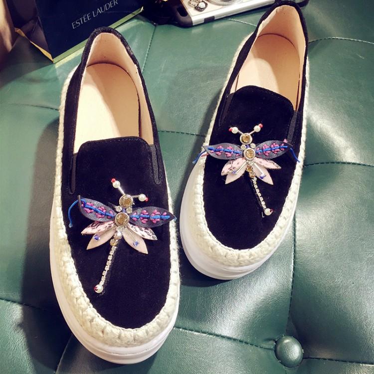 Big Size Women Platform Loafers Crystal Genuine Leather High Quality Pointed Toe Flats Shoes For Women Slipony Women Rhinestone  (31)