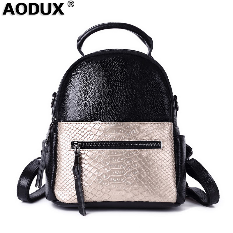 AODUX 2018 Fashion Small 100 Genuine Leather Backpacks Crocodile Alligator Pattern Women Girl Ladies Party Shopping
