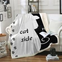 Cat side Blanket footprint print Plush Throw Sofa Noble Bedspread Bed Blankets