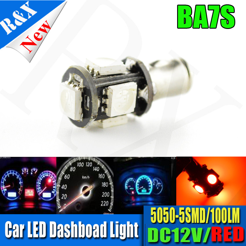 4X BA7S Red LED Indicator Warning Pilot Dash Signal Light Lamp Panel Dashboard 5smd 5050 12v 100lm