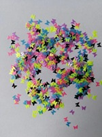 Neon Fluorescent glitter butterflies nail art glitter mixes shape spangle sequins