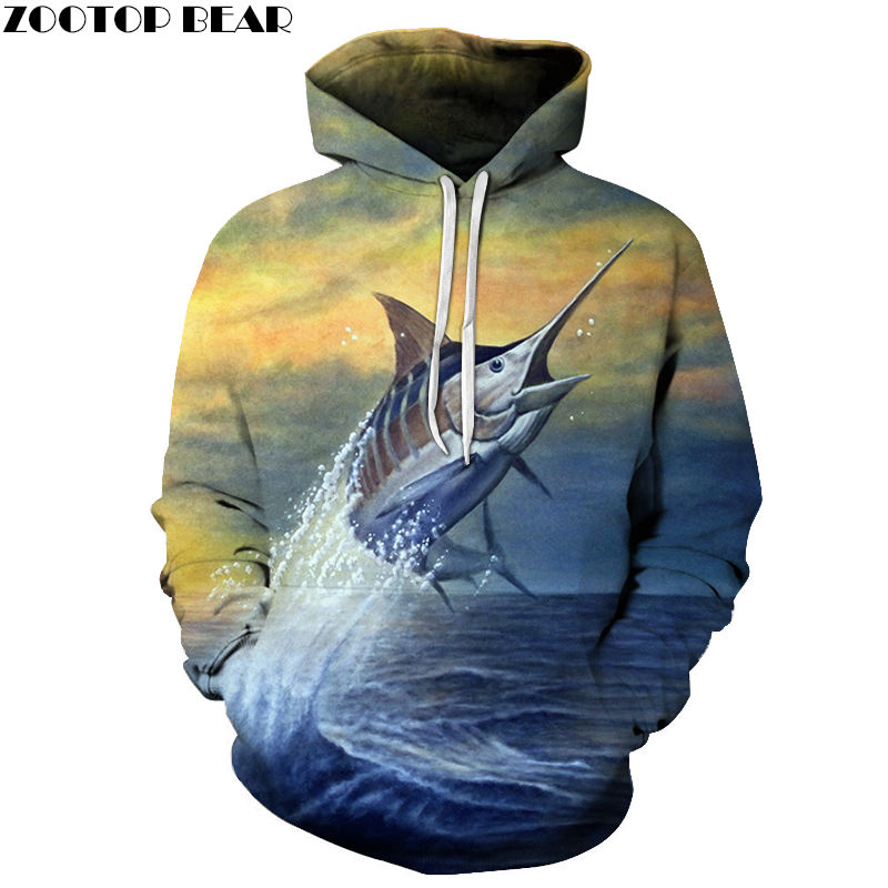 Long-mouthed Fish Spring Male Sweatshirts Animal Men Hoodies Brand Sleeves Casual Tracksuits 3D Print Tops Drop Ship ZOOTOP BEAR
