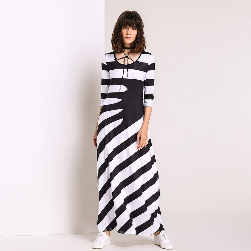 Women Striped Maxi Dress 2017 3/4 Sleeve O neck Casual ...