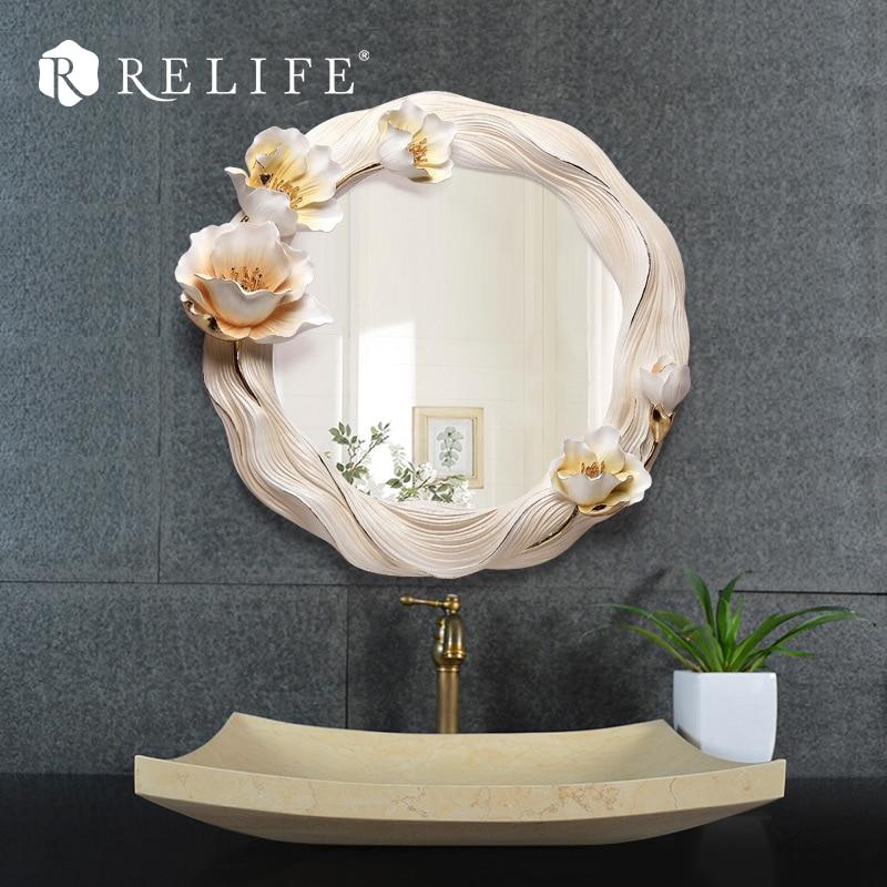 Novo dekorativno okroglo stensko ogledalo smola cvetlični okras za - Dekor za dom - Fotografija 1