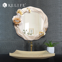 New Decorative Round Wall Mirrors Resin Flower Decoration Home Decor for Bathroom