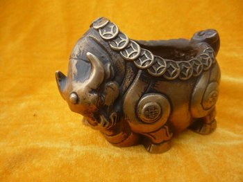 Rare Old  copper Sculpture ashtray,Ox form,1940, best collection