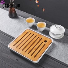 CAKEHOUD Bamboo Tea Tray Drainage Water Storage Kung Fu Set Table Chinese Cup Ceremony Tools