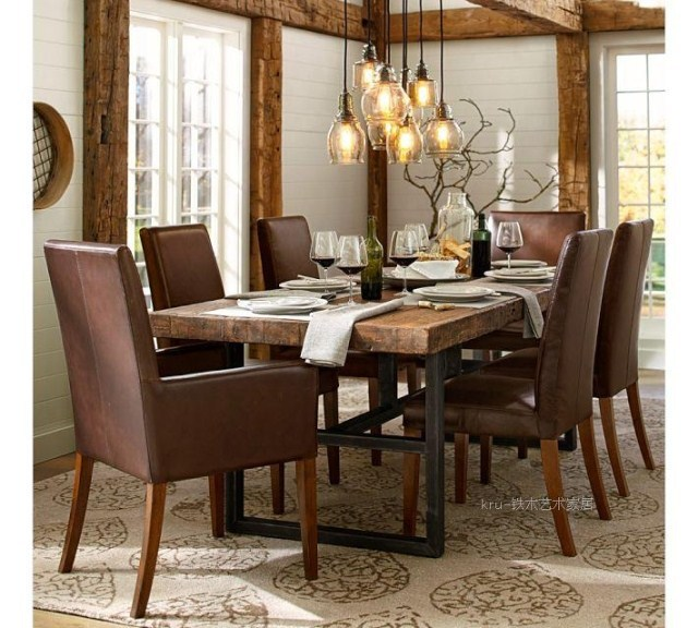 Ikea americana comedor retro combinación de madera maciza, hierro ...
