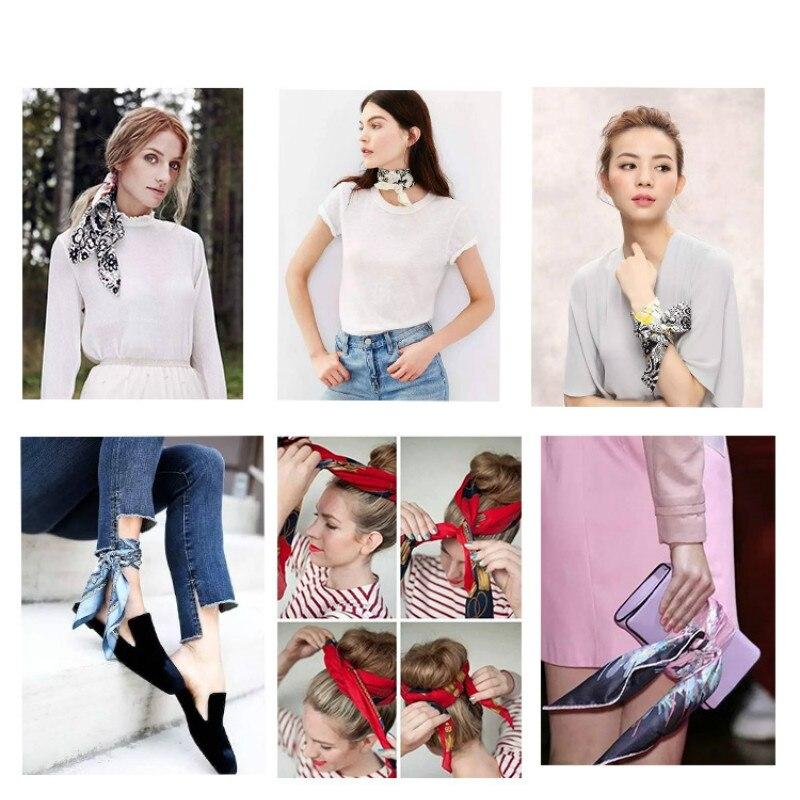 Fashion women scarf silk square satin mountain stripes professional small
