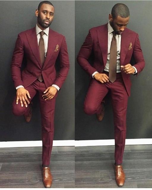 Burgundy Suits Men 2019 Trajes De Hombre Traje Homb Custom Made Groom Suit Suit For Men Mens Wear Suits 2 Piece (Jacket+Pants)