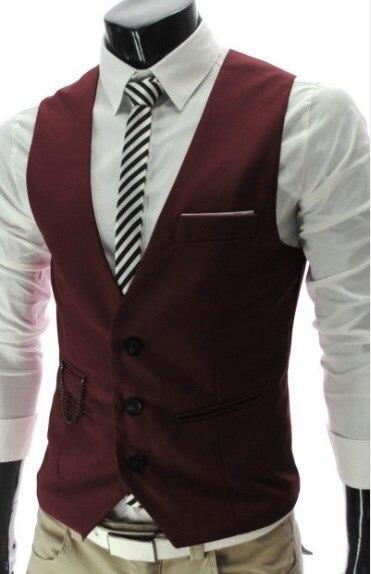 2019 Men Slim Fit Classic Vest Waistcoat Mens V-neck Suit Vest Casual Men's Formal Vest Black White Gray Red
