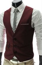 2019 Men Slim Fit Classic Vest Waistcoat Mens V-neck Suit Vest Casual Men's Formal Vest Black White Gray Red(China)