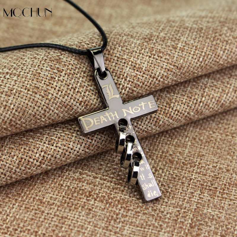MQCHUN Jewelry New Death Note Anime Pierced Cross Charm Pendant Necklace With Rope Chain Cosplay Accessories Jewelry Men Gift