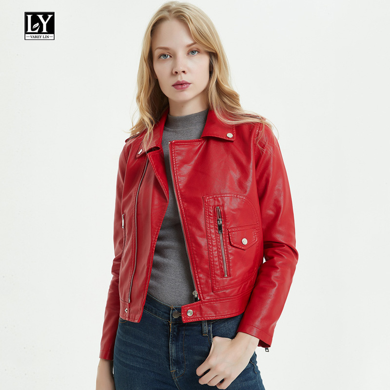 Ly Varey Lin Autumn Faux Soft   Leather   Pu Jacket Coat Women Black Red Punk Female Epaulet Zipper Faux Jacket Slim Outerwear