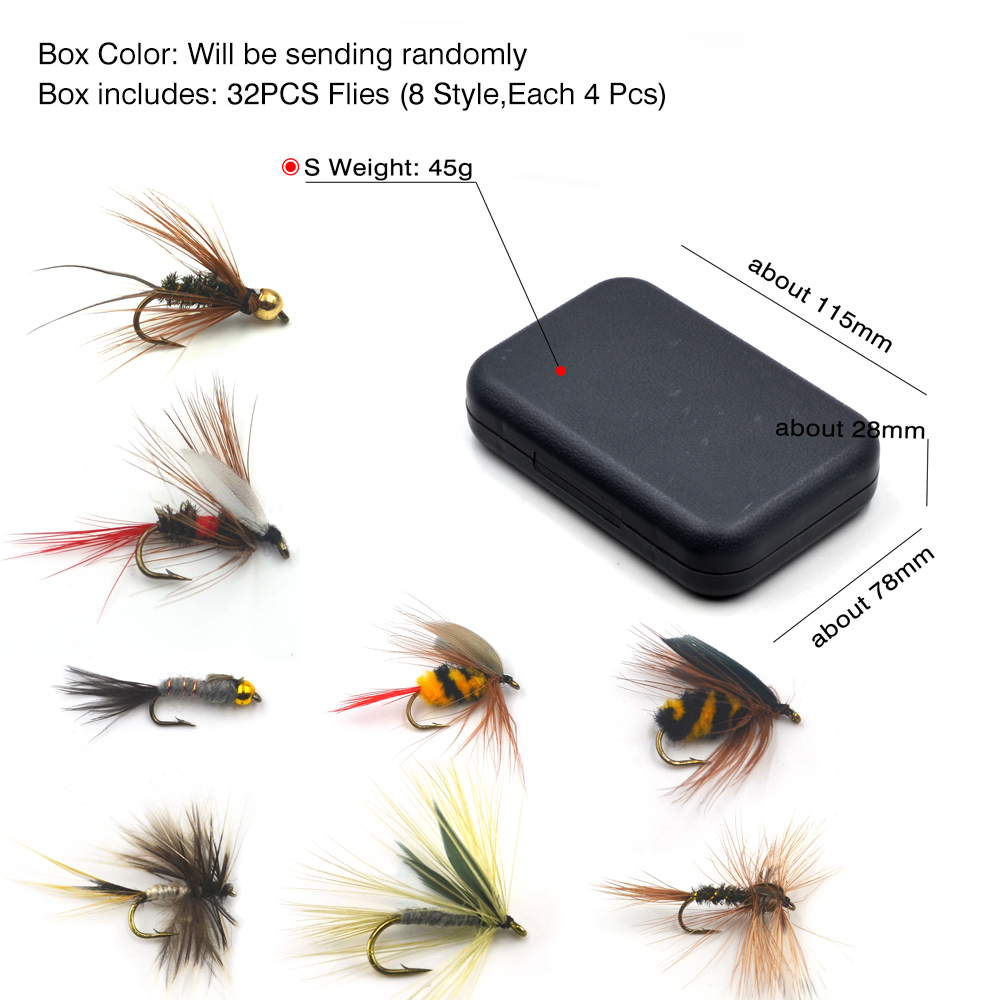 32pcs Fly Fishing Flies Lures Kit Insect Flying Colored Fly Bait Hook GOOD