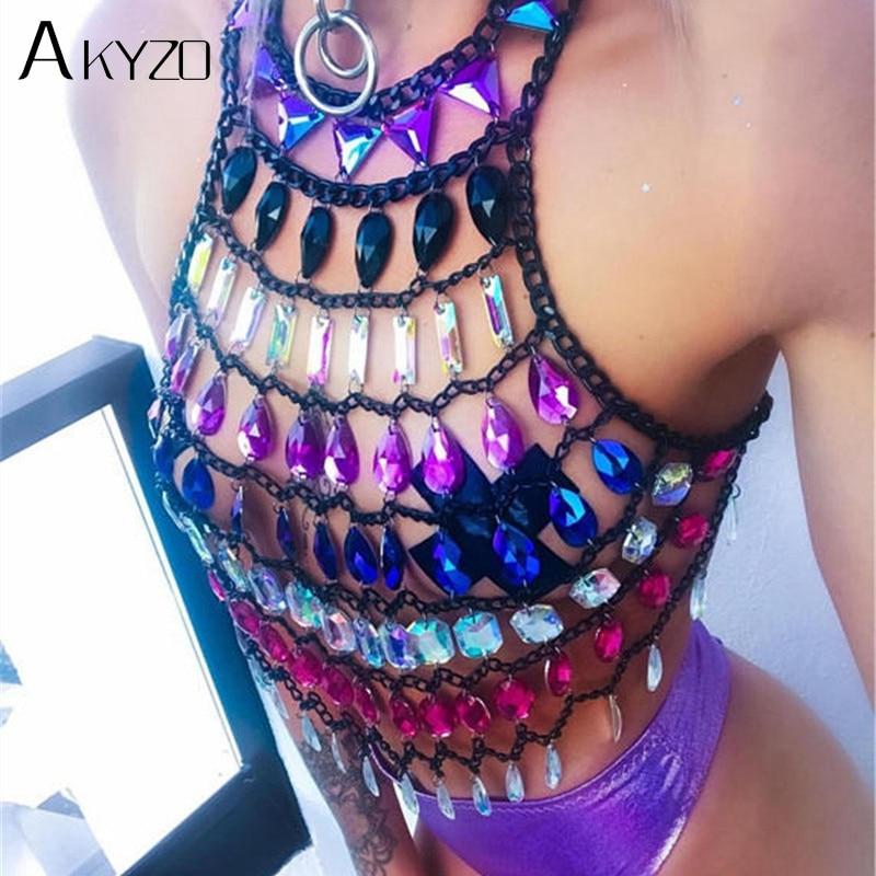 06b6a2df AKYZO Boho Crystal Hollow Metal Chain Crop Top Camis Colorful Gems ...