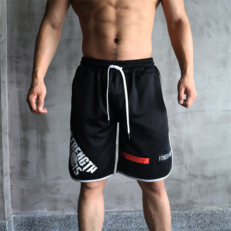 YEMEKE Mens Shorts Summer Casual Beach Shorts Men Gyms Sporting Bodybuiding Short Pants Dry Fit Mesh Shorts Fitness Clothing