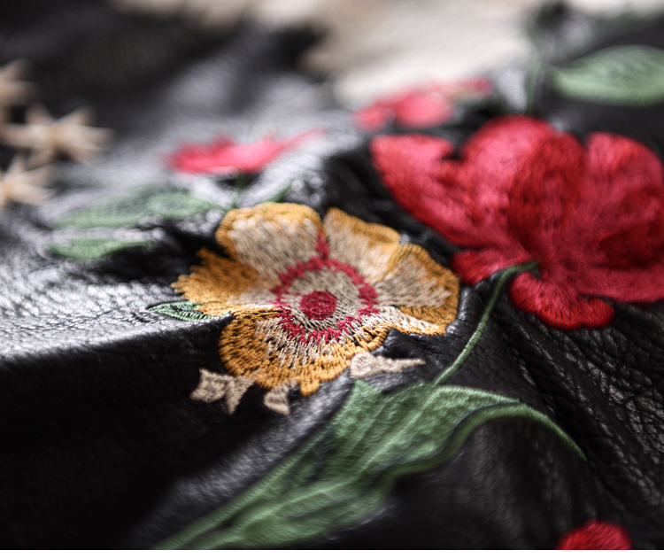 Retro A-Line Kunstleder Rock Neue Frauen Kontrastfarbe Blume Mini - Damenbekleidung - Foto 5