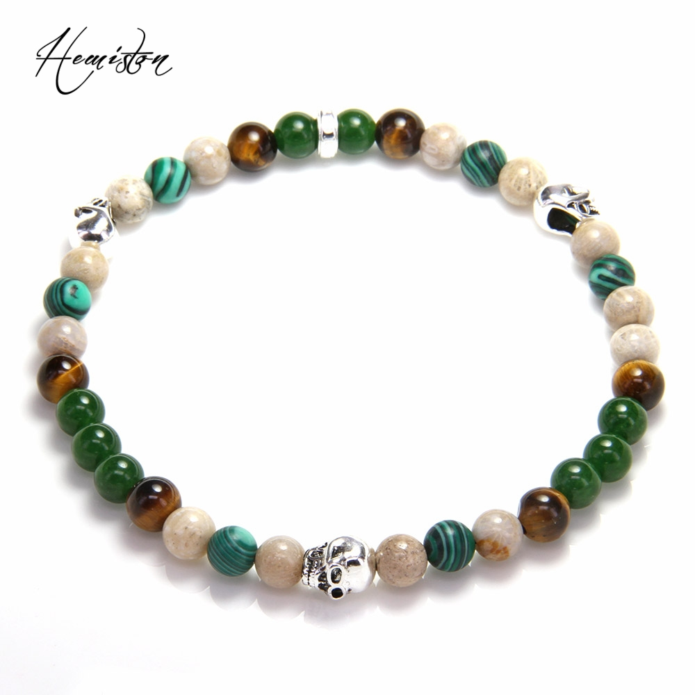 Thomas 6mm Green Colorful Green Nature Stone, Skull Bead Women Bracelets, Glam Jewelry Soul Gift for Women TS B596