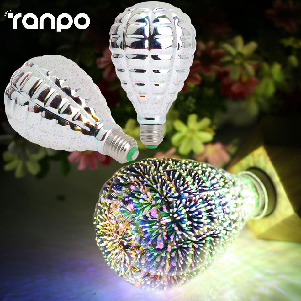 3D Star Led Bulb E27 Colourful Fireworks Edison Bulb For Holiday Party Bar Christmas Decoration 220V LED Lamp Lamparas Bombillas led light bulb edison 3d decoration silver holiday christmas decoration night bar glass led lamp 3w 5w candle lamparas bombillas