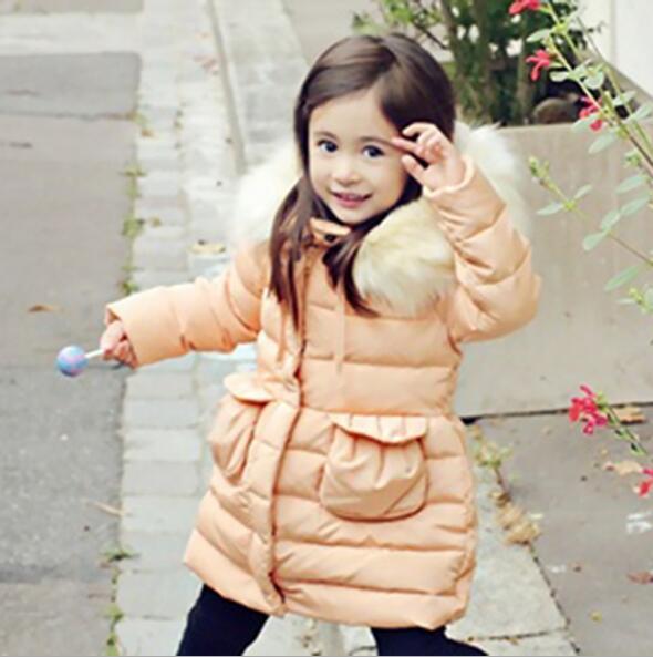 2016 Brand Baby font b Girl b font 100 down winter jackets coat long thick warm
