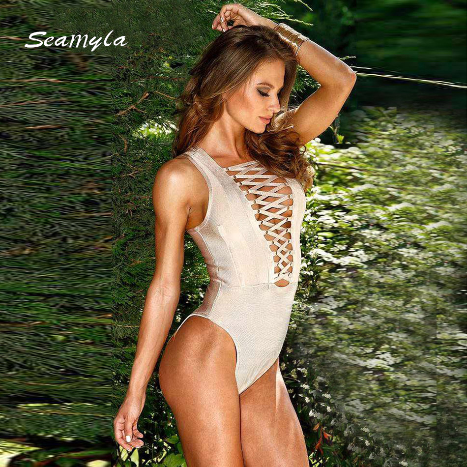 Seamyla 2018 brand quality new fashion bodycon jumpsuits front lace up design bodysuit sexy hollow out rayon bandage jumpsuit
