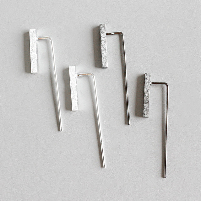 e75853624 Jsmpfy Sterling Silver 925 Fine Jewelry Simple Classic Designs Long Pins  Bar Wedding Stud Earrings For Women Birthday Gifts