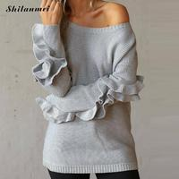 Sexy Off Shoulder Women Sweater Knitted Pullover Top 2018 Autumn Fashion Ruffle Sleeve Causal Loose Sweater Solid Jumper Femme
