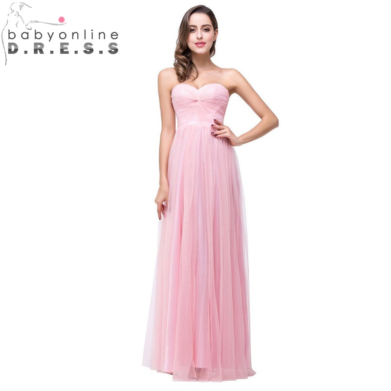Babyonline Sexy Backless Pink   Bridesmaid     Dresses   Elegant Chiffon Wedding Party   Dresses   Robe Demoiselle D'honneur