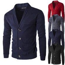 Мужской весенне-осенний тонкий свитер, кардиган с v-образным вырезом, свитер для мальчиков, одноцветная куртка с принтом, пальто, Повседневные вязаные свитера с пуговицами