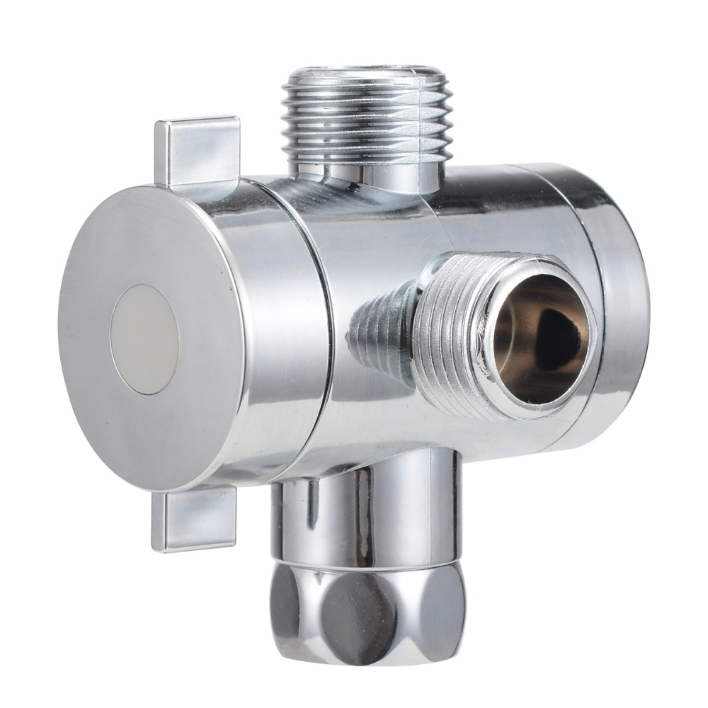 1/2'' 3-Way T-adapter Diverter Valve Adjustable Shower Head Arm Mounted Diverter Valve Bathroom Hardware Accessory