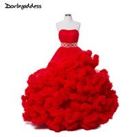 Real Photo Luxe Puffy Cloud Trouwjurken Rode Strapless Baljurk Bruidsjurken voor Zwangere Vrouwen 2017 vestidos de novia