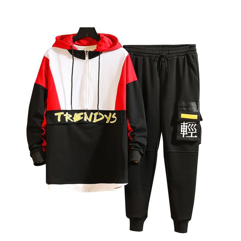 M-3xl 4xl 2019 Spring Summer Men Tracksuit Set Fashion Men Track Suit With Pants Harem Jogging Sweat Men Joggers Suit Sets