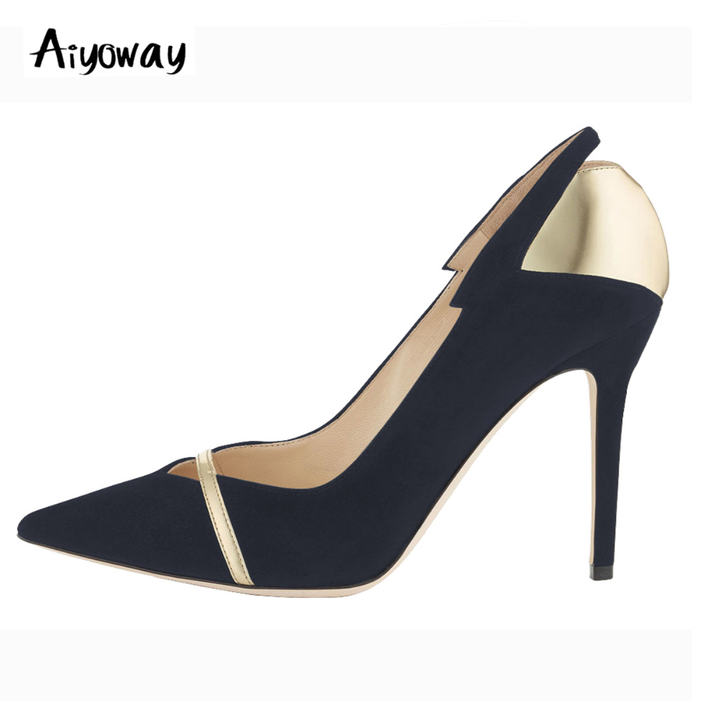 Aiyoway Fashion Women Pointed Toe High Heel Patchwork Pumps Autumn Spring Office Lady Party Shoes Slip On Black&Gold phyanic 2018 spring summer slip on women pumps fashion elegant pointed toe thick high heels party lady woman shoes black beige