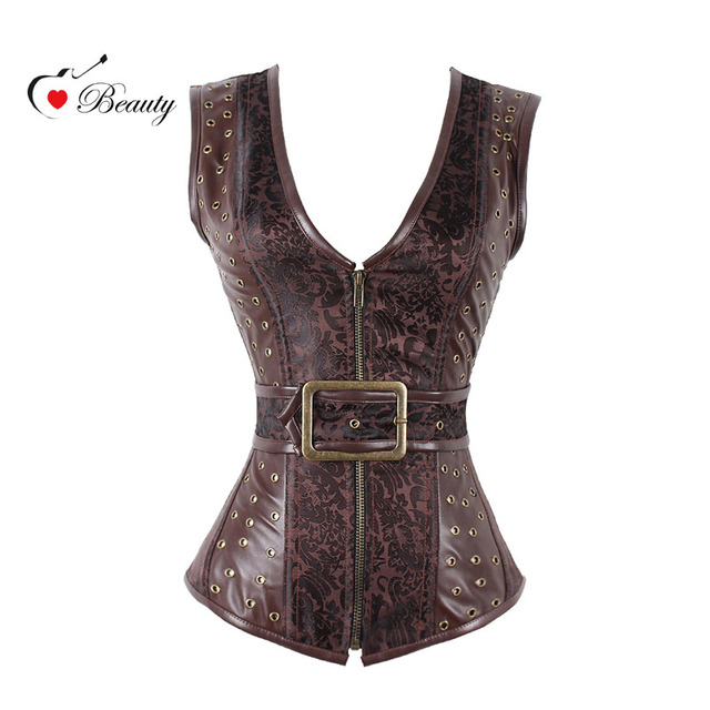 2016 Korsett Steampunk Shaper Pretty Corsets Zipper Corset Plus Size Top Gothic Women Corset Costume