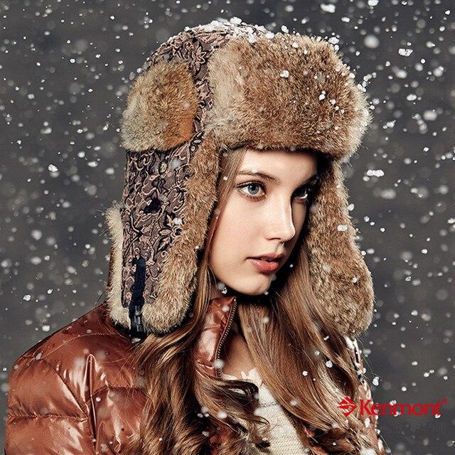 Kenmont Зима Женщины Леди Открытый Теплый Натуральный Мех Кролика Лыж Ловец Бомбардировщик Авиатор Hat Cap 2326