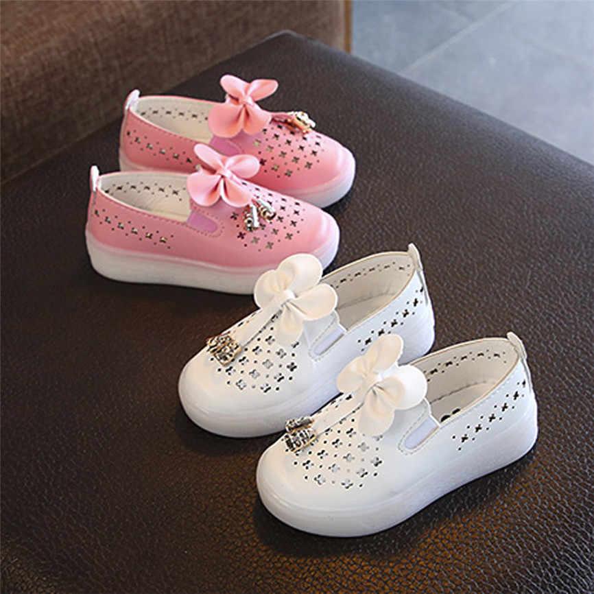 Buty szkolne dla dziewczyn 2018 dziecka dziewczyny mody na co dzień łuk dziecko pojedyncze Skórzane trampki księżniczka szpilki Dropshipping B #