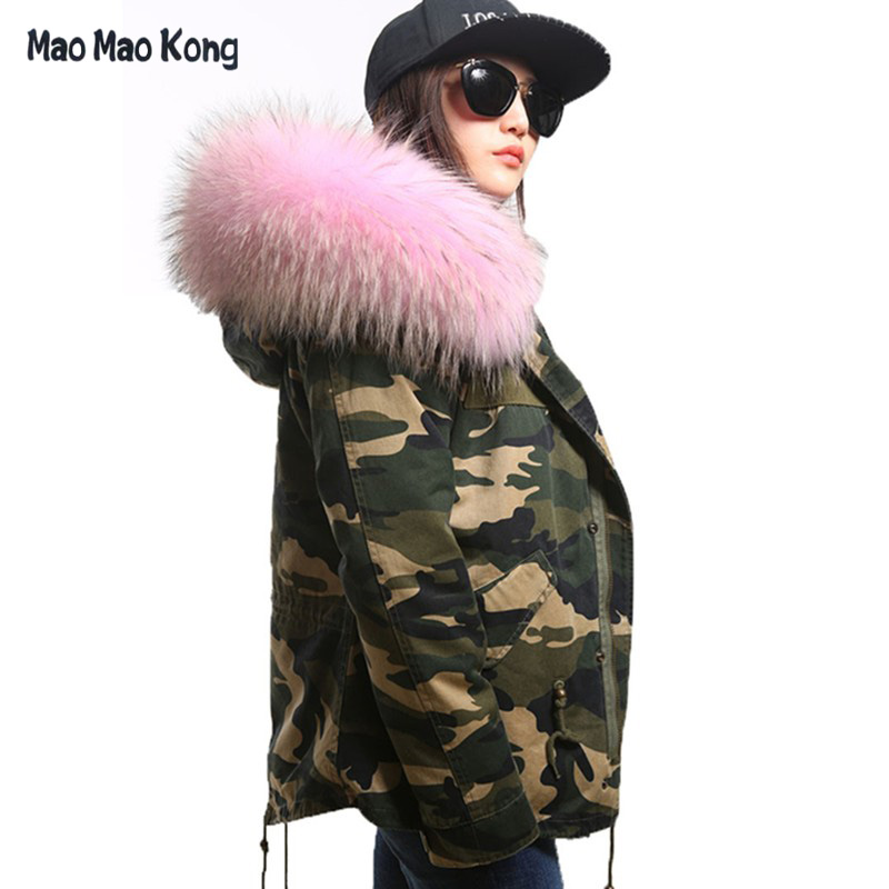plus size 2017 New army green Camouflage winter jacket women thick parkas big raccoon natural real fur collar coat hooded plus size 2017 women outwear long camouflage winter jacket thick parkas raccoon natural real fur collar coat hooded pelliccia