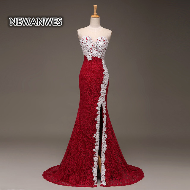 576c0f48a49 Red and White Lace Mermaid Prom Dress Side Slit Long Mermaid Formal Evening  Dress Illusion Back Elegant Prom Dress
