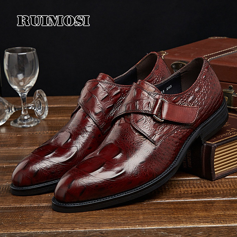 RUIMOSI Hot Saling Formal Man Dress Shoes Genuine Leather Designer Oxfords Luxury Brand Men's Crocodile Footwear For Male EH95