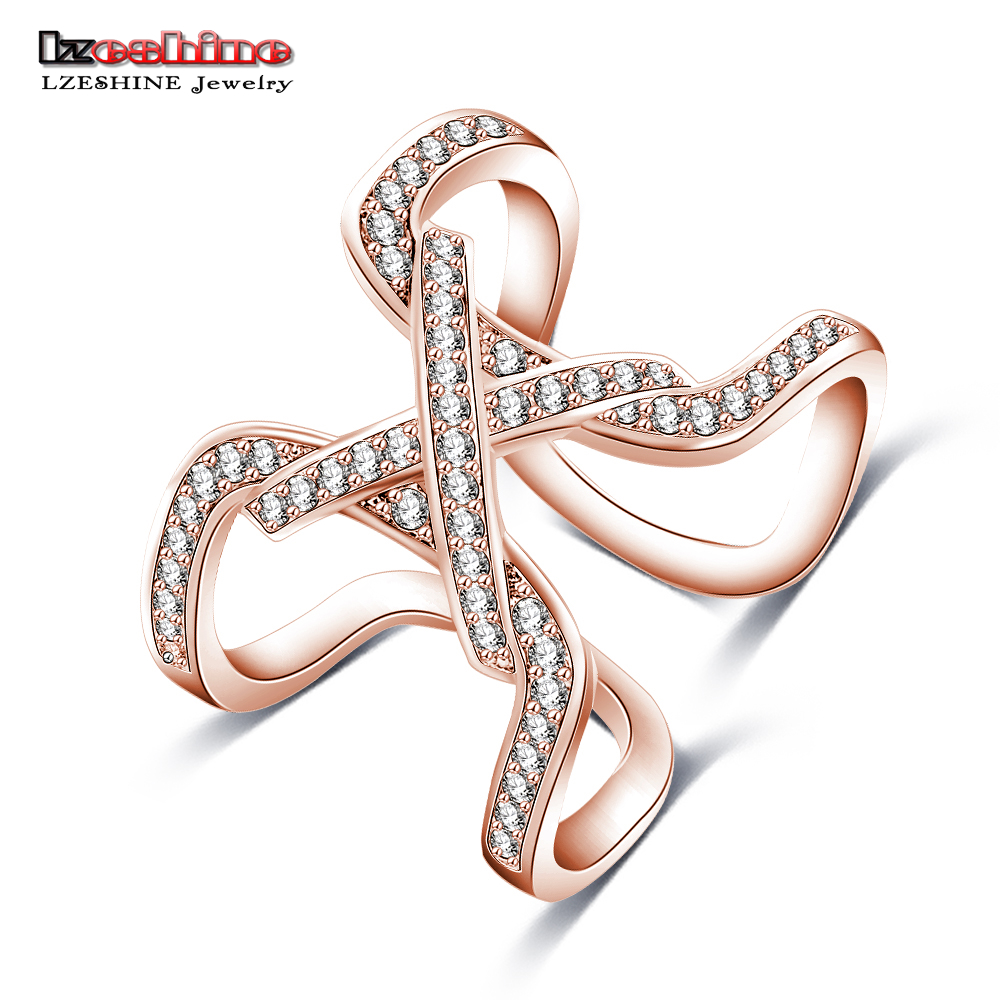 LZESHINE New Design Womens Full Finger Ring Rose Gold Color Micro ...