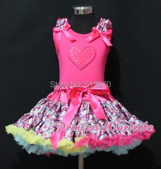Valentine Hot Pink Pettitop Top Heart Print Hot Pink Floral Print Pettiskirt Set 1-8Year MAPSA0248 valentine hot pink romantic rose heart