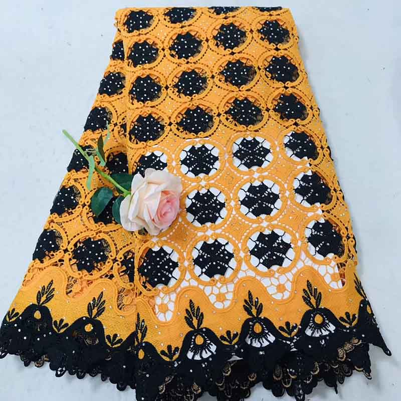 New Orange Color African Lace Fabric 2019 Embroidered Nigerian Lace Fabric High Quality French Tulle Lace