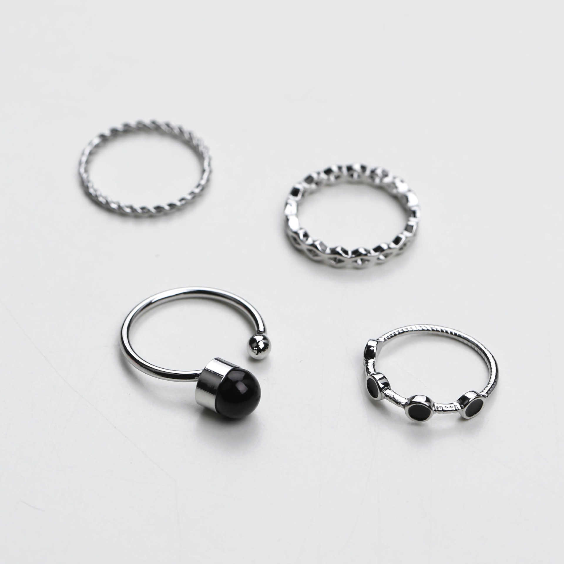 4pcs/set Japan Korean Simple Vintage Silver Color Black Beads Water Ripple Rings Sets for Women Party Charm Punk Jewerly