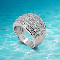 European And American Fashion Wide Ring 925 Sterling Silver Ring For Woman Set Auger Low Key