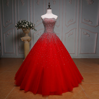 Sparkly Quinceanera Dresses Red Sequined Beading Ball Gowns Tulle Long Tulle Lace-Up Sweet 16 Dress Vestido De 15 Anos