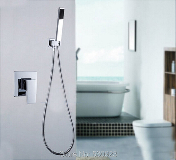 Newly Simple Style Brass Handheld Shower Chrome Polished Shower Faucet Hand Shower Sprayer Mixer Tap Single Handle Wall Mounted 8 led new wall mounted ultrathin spray square waterfall handheld shower chrome polished shower sets tap mixer faucet sets head